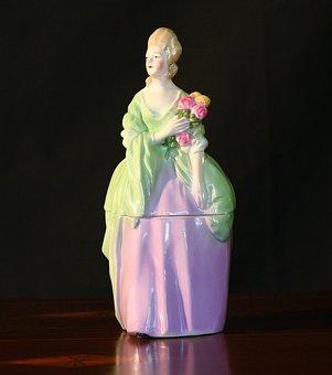 Ladies Powder Jar, Vanity Display, Porcelain
