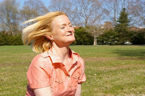 Woman, Middle-aged, Hair, Freedom, Gust Of Wind, Windy