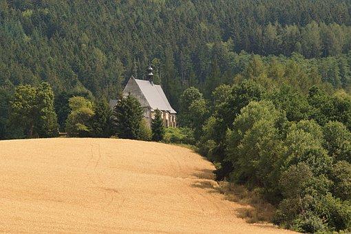 Church, Forest, šumava, Landscape, Velhartice, Werich