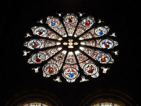 Rose Window, Window, Glass, Colored Glass, Church
