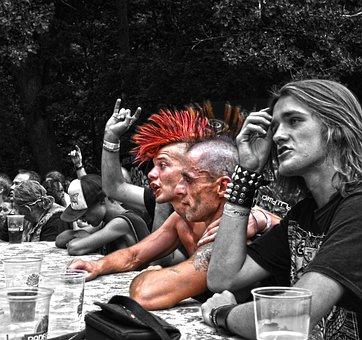 The Crowd, Fans, Festival, Punker, Hair, Colors, Mohawk