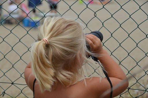 Binoculars, Image, Eye, Focus, Looking Far, Girl