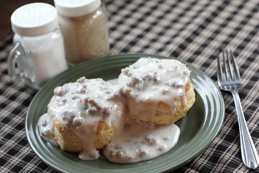 Biscuits, Gravy, Breakfast, Food, Biscuit, Bread