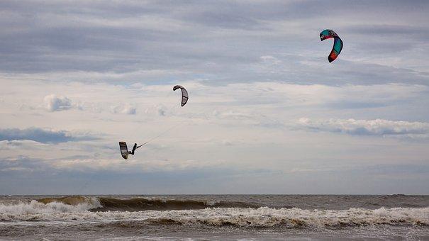 Kitesurfer, Kitesurfing, Dragons, Sport, Sea, North Sea