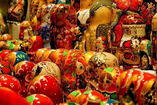 Russian Dolls, Matriochkas, Nesting, Wood, Painting