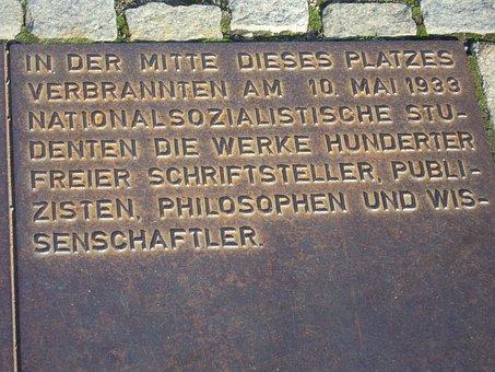 Berlin, Plaque, Book Burning, Bebelplatz, Old Library