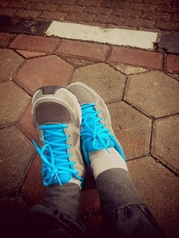Running Shoes, Blue-grey Shoes, Running, Shoes, Sport