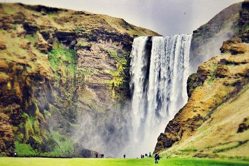 Skogafoss, Waterfall, Iceland, Stream, Europe, Nature