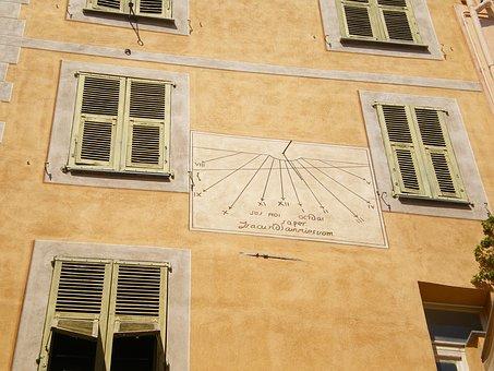Roquebrune, Facade, Sundial, Time, Solar, Dial