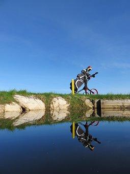 Water Hazard, Golf Course, Golf, Golf Bag, Trolley