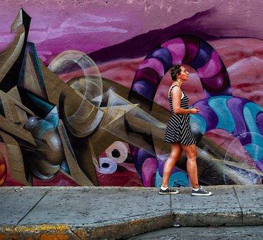 Woman, Walking, Grafitti, Wall, Pavement, Woman Walking