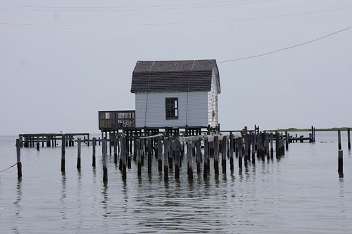 Lake, House, Hut, Small, Shed, Wooden, Stakes, Posts