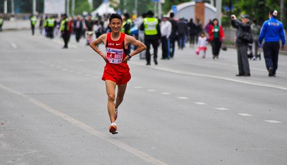 Runner, Marathon, Tired, Street, Young, Male, Chinese