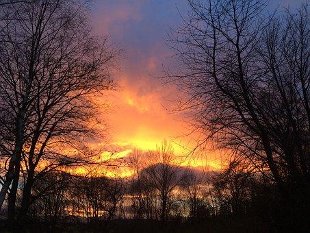 šumava, Kašperské Hory, Sunset, Evening