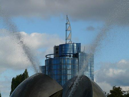 Modern Art, Ball, Fountain, Water, Stuttgart