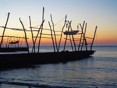 Sunset, Boat, Sea, Pontoon Bridge, Croatia