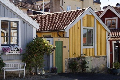 Kalmar, Boathouses, Sweden, Borgholm, Colorful, Facade