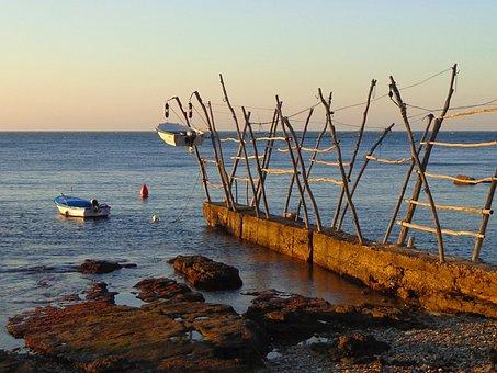 Boats, Sea, Jetty, Sunset, Croatia, Pontoon Bridge
