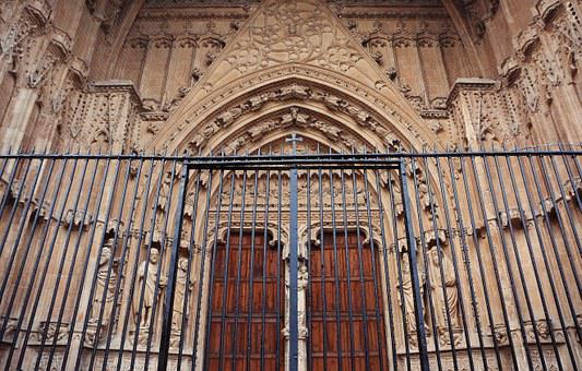Church, Cathedral, Entrance, Gate, Fence, Historic