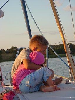 Child, Children, Yacht, Sails, Lake, Love, Family