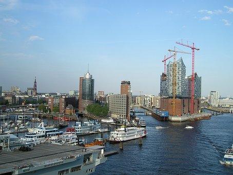 Hamburg, Elbe Philharmonic Hall, Port, Build, Cranes