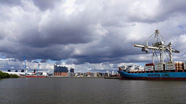 Hamburg, Port, Skyline, Elbe, Elbe Philharmonic Hall
