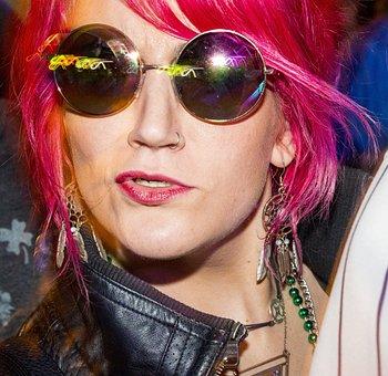Girl, Sunglasses, Pink Hair, Hippie, Punk