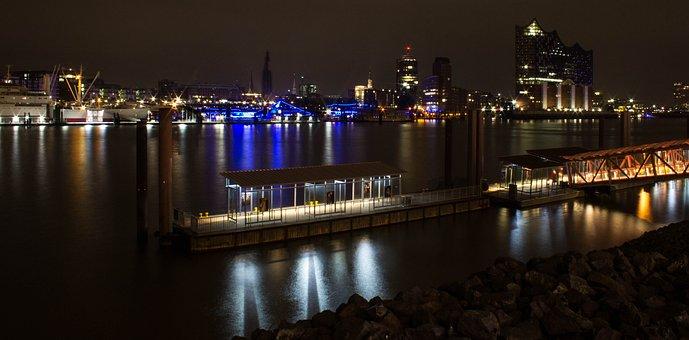Hamburg, Port, Ship, Landungsbrücken, Water