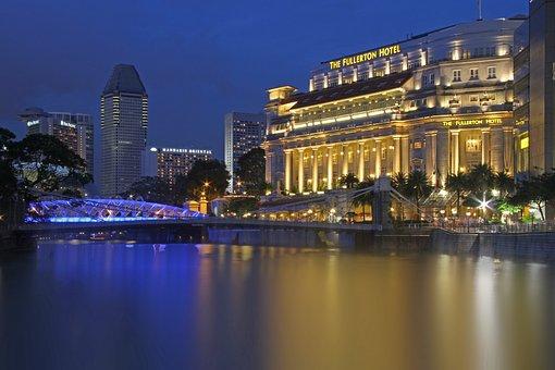 Singapore, Fullerton Hotel, View, Lighting, Night, Asia