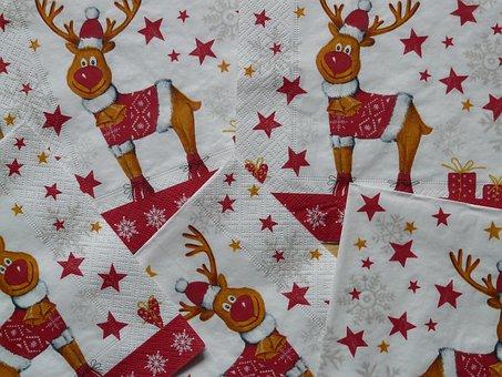 Napkins, Rudolph, Napkin Rudolf, Reindeer, Red Currant