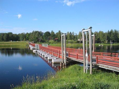 The Valleys, Gagnef, Pontoon Bridge, Water, Lake
