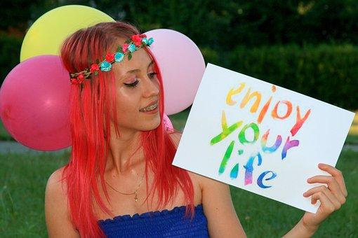 Girl, Pink Hair, Wreath, Balloons