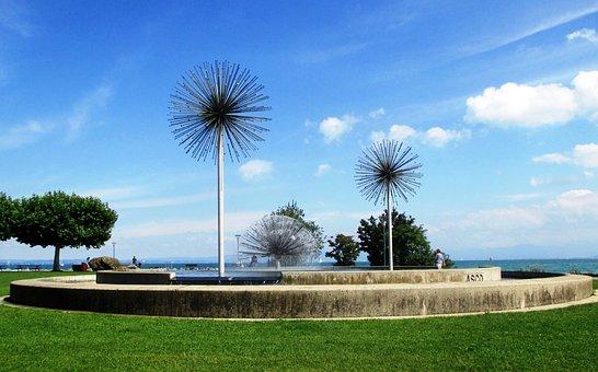 Fountain, Asco Fountain, Beautiful, Water, Grass, Trees