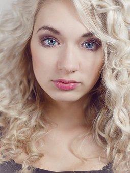Face, Portrait, Blond, Blondie, Blue Eyes, Black Dress