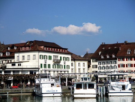 Rapperswil Jona, Lake Zurich, Boat Harbour, Old Town