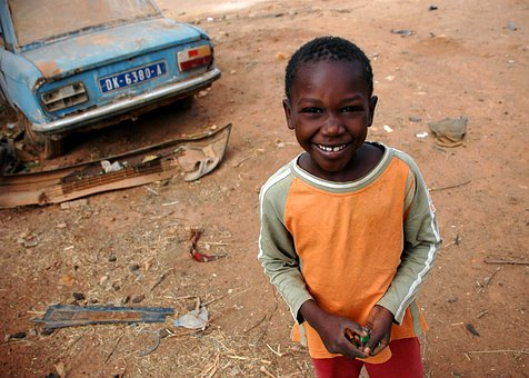 Senegal, Child, Boy, Smiling, Dirt, Vehicle, Portrait