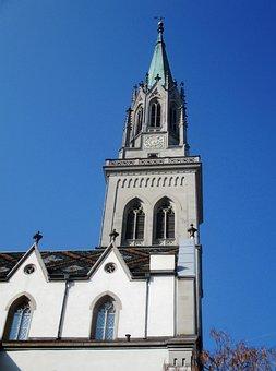 Church, St Laurenzen, Building, Steeple, Nave
