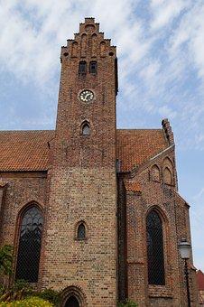 Church, Steeple, Ystad, Sweden, Building, Stone, Brick
