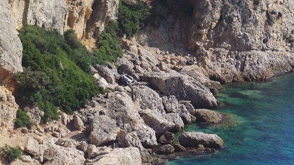 Thassos, Accident, Cliff, Rocky Beach, Crashed Car