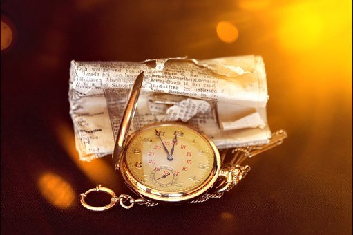 Pocket Watch, Clock, Clock Face, Newspaper
