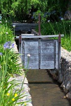 Sluice Gate, Water, Rill, Irrigation, Control