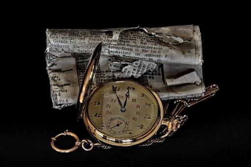 Pocket Watch, Newspaper, Clock, Daily Newspaper, Rolled