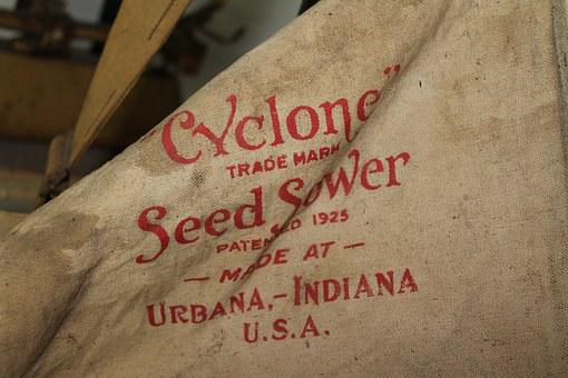 Antique, Farmer, Sowing, Seed Sower, Cyclone
