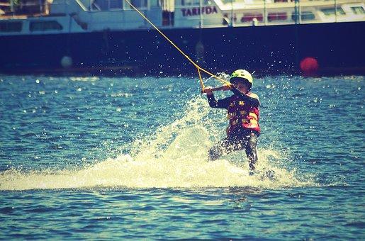 Waterski, Child, Water, People, Person, Fun, Fitness