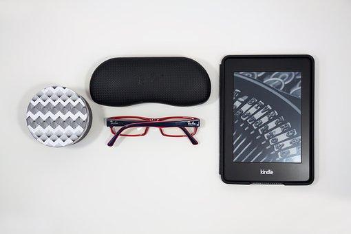 Box, Case, Glasses, E-book, Flat Design, Read