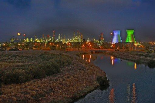 Refineries, Haifa Israel, Night, Power, Storage