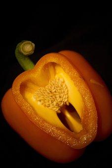 Pepper, Heart, Shape, Orange, Vegetable, Veg, Healthy