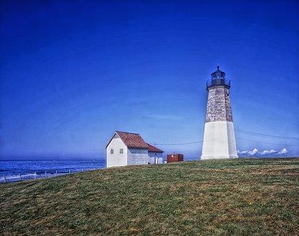 Point Judith Light, Lighthouse, Architecture, Sky, Sea