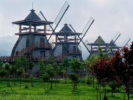 Mills, In The Fog, Near Sofia