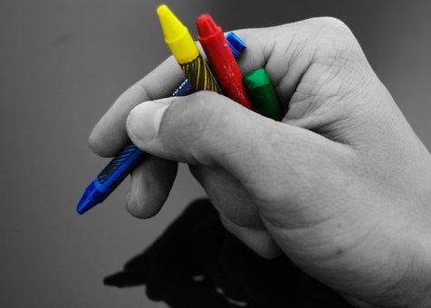 Wax, Crayons, Crayon, Hand, Paint, School, Need